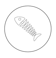 fish skeleton icon in outline style isolated on vector image