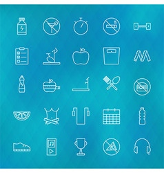 Fitness and Dieting Line Icons Set over Polygonal vector