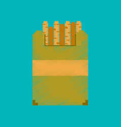 Flat shading style icon pixel french fries vector