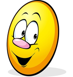 funny yellow easter egg cartoon vector image