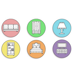 furniture icons set beautiful on a colored vector image
