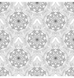 Geometric flower seamless pattern black white vector image