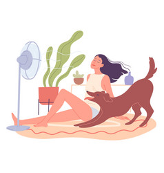 Girl and her dog are chilling at home fan vector
