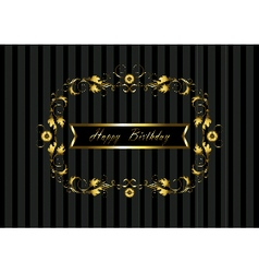 Gold frame with floral pattern and Happy Birthday vector image
