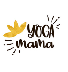 golden lotus flower and inscription yoga mama vector image