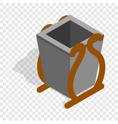 Gray litter bin isometric icon vector