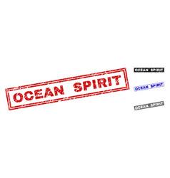 grunge ocean spirit textured rectangle watermarks vector image