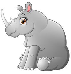 happy rhino cartoon sitting vector image