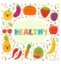 Healthy Cute happy fruits and vegetables in vector