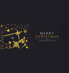 holiday new year card - merry christmas on black vector image