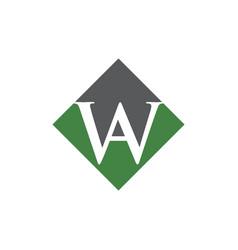 Initial aw rhombus logo design vector
