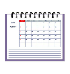 Isolated august page 2019 planner calendar vector