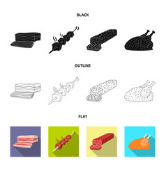 isolated object of meat and ham icon collection vector image