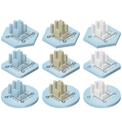 Isometric icons of city vector