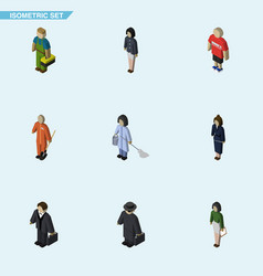 Isometric people set of investor guy detective vector