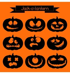 Jack-o-lantern Set of 9 decorative elements vector image
