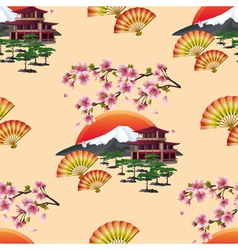 Japanese decorative seamless pattern with sakura vector