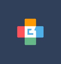 Letter b cross plus logo icon design template vector