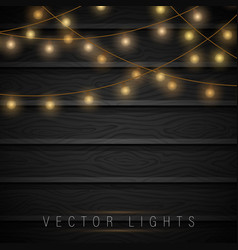 lights on wooden background vector image