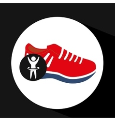 Man hand up silhouette with sneaker red icon vector