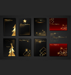 merry christmas set cards black and red templates vector image