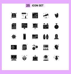 Modern set 25 solid glyphs and symbols vector