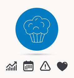 muffin icon cupcake dessert sign vector image