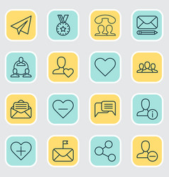 Network icons set with chatting call favorite vector
