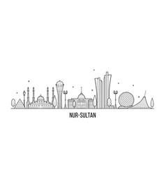Nur-sultan astana skyline kazakhstan city vector