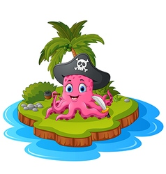 Octopus pirate in island vector
