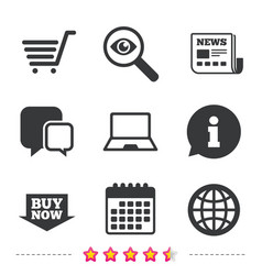 online shopping icons notebook pc cart buy vector image