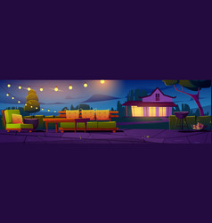 Patio village cottage house courtyard at night vector