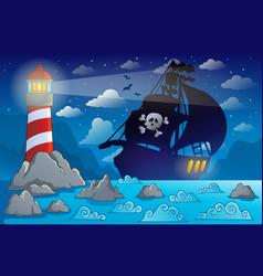 pirate ship silhouette near coast 2 vector image