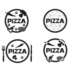 pizza logo set vector image