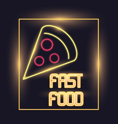 Pizza neon lights icon vector