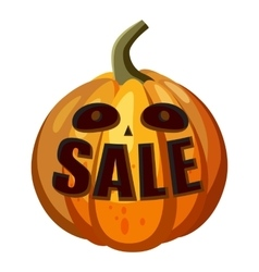 Pumpkin with word sale icon cartoon style vector