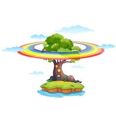 Rainbow and island vector image