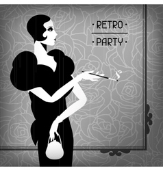 retro party background with beautiful girl vector image