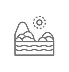 sand beach with sea brazilian landscape line icon vector image