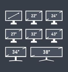 Screen display set different diagonal sizes vector
