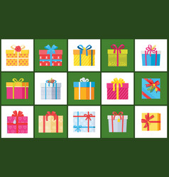 set christmas parcel package icons decor wrapping vector image