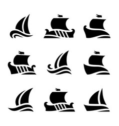 set icons historic sailboats in sea vector image
