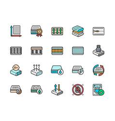 Set mattress color icons elastic material vector