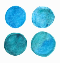 Set of blue watercolor round stains vector