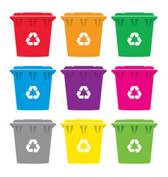 set of colorful recycling wheelie bin icons vector image