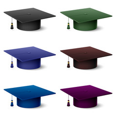 set of of colorful hats graduate on white vector image