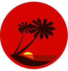 silhouette a palm trees at sunset vector image