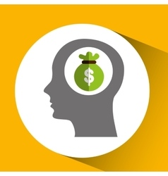 Silhouette head with bag money icon vector