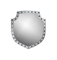 Silver shield shape icon 3d gray emblem sign vector