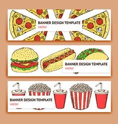 Sketch fast food banner vector